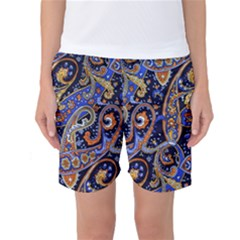 Vintage Retro Texture Decoration Pattern Color Circle Ornament Art Design Bright Symmetry Style  Women s Basketball Shorts by Vaneshart