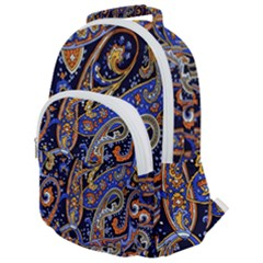 Vintage Retro Texture Decoration Pattern Color Circle Ornament Art Design Bright Symmetry Style  Rounded Multi Pocket Backpack by Vaneshart