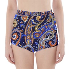 Vintage Retro Texture Decoration Pattern Color Circle Ornament Art Design Bright Symmetry Style  High-waisted Bikini Bottoms by Vaneshart