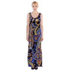 Vintage Retro Texture Decoration Pattern Color Circle Ornament Art Design Bright Symmetry Style  Thigh Split Maxi Dress