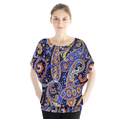 Vintage Retro Texture Decoration Pattern Color Circle Ornament Art Design Bright Symmetry Style  Batwing Chiffon Blouse by Vaneshart