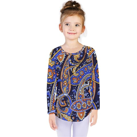Vintage Retro Texture Decoration Pattern Color Circle Ornament Art Design Bright Symmetry Style  Kids  Long Sleeve Tee by Vaneshart