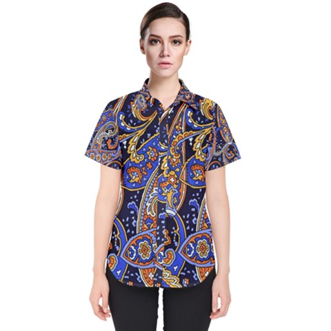 Vintage Retro Texture Decoration Pattern Color Circle Ornament Art Design Bright Symmetry Style  Women s Short Sleeve Shirt by Vaneshart