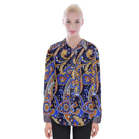 Vintage Retro Texture Decoration Pattern Color Circle Ornament Art Design Bright Symmetry Style  Womens Long Sleeve Shirt by Vaneshart