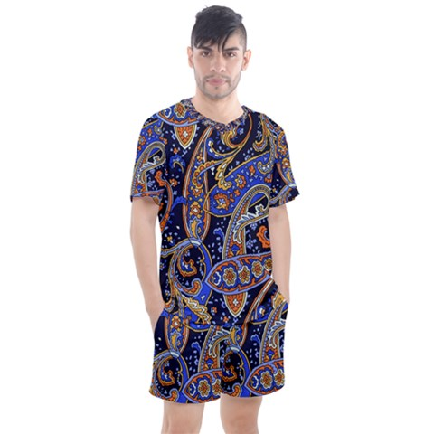 Vintage Retro Texture Decoration Pattern Color Circle Ornament Art Design Bright Symmetry Style  Men s Mesh Tee And Shorts Set by Vaneshart
