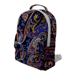 Vintage Retro Texture Decoration Pattern Color Circle Ornament Art Design Bright Symmetry Style  Flap Pocket Backpack (large) by Vaneshart