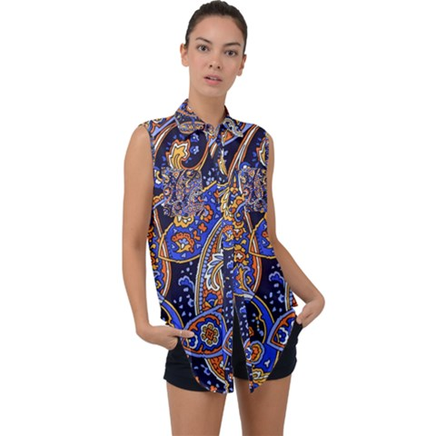 Vintage Retro Texture Decoration Pattern Color Circle Ornament Art Design Bright Symmetry Style  Sleeveless Chiffon Button Shirt by Vaneshart