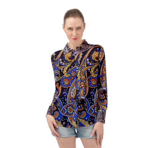 Vintage Retro Texture Decoration Pattern Color Circle Ornament Art Design Bright Symmetry Style  Long Sleeve Chiffon Shirt by Vaneshart