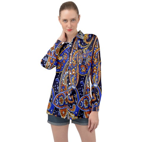 Vintage Retro Texture Decoration Pattern Color Circle Ornament Art Design Bright Symmetry Style  Long Sleeve Satin Shirt by Vaneshart