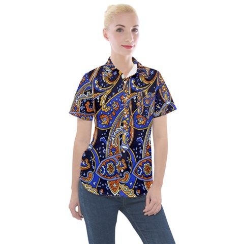 Vintage Retro Texture Decoration Pattern Color Circle Ornament Art Design Bright Symmetry Style  Women s Short Sleeve Pocket Shirt by Vaneshart
