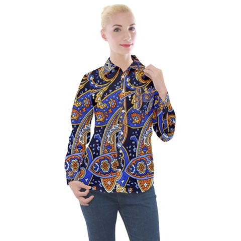 Vintage Retro Texture Decoration Pattern Color Circle Ornament Art Design Bright Symmetry Style  Women s Long Sleeve Pocket Shirt by Vaneshart
