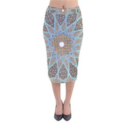 Vintage Flower Floral Pattern Line Tile Circle Art Design Symmetry Mosaic Culture Dome Shape Persian Velvet Midi Pencil Skirt
