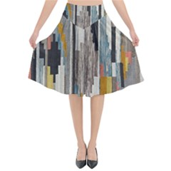Abstract Pattern Flared Midi Skirt