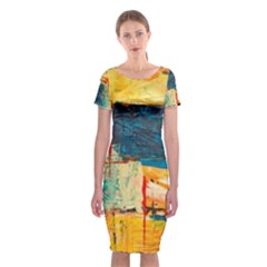Abstract Painting Acrylic Paint Art Artistic Background Classic Short Sleeve Midi Dress