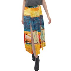 Abstract Painting Acrylic Paint Art Artistic Background Velour Split Maxi Skirt