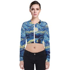 Starry Night Long Sleeve Zip Up Bomber Jacket by Vaneshart