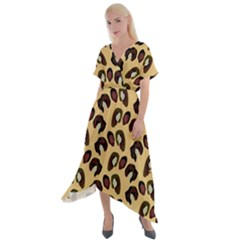 It's Wild  Cross Front Sharkbite Hem Maxi Dress by VeataAtticus
