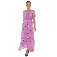 Rainbow Birthday Cake Pattern2 Off Shoulder Open Front Chiffon Dress