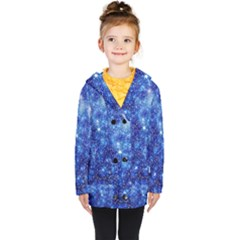 Blurred Star Snow Christmas Spark Kids  Double Breasted Button Coat by HermanTelo