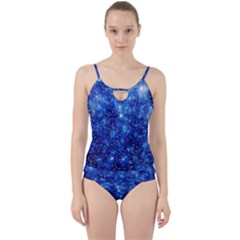 Blurred Star Snow Christmas Spark Cut Out Top Tankini Set