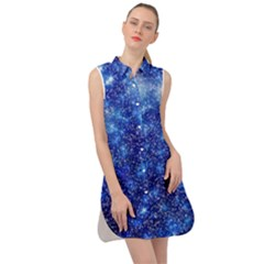 Blurred Star Snow Christmas Spark Sleeveless Shirt Dress by HermanTelo