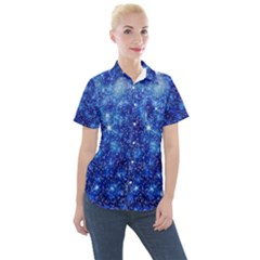 Blurred Star Snow Christmas Spark Women s Short Sleeve Pocket Shirt