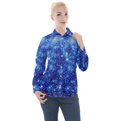 Blurred Star Snow Christmas Spark Women s Long Sleeve Pocket Shirt