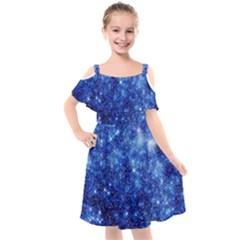 Blurred Star Snow Christmas Spark Kids  Cut Out Shoulders Chiffon Dress