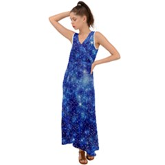 Blurred Star Snow Christmas Spark V Neck Chiffon Maxi Dress