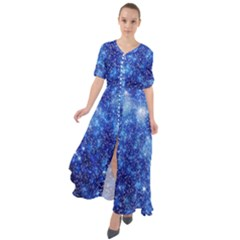 Blurred Star Snow Christmas Spark Waist Tie Boho Maxi Dress