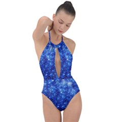 Blurred Star Snow Christmas Spark Plunge Cut Halter Swimsuit