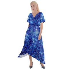 Blurred Star Snow Christmas Spark Cross Front Sharkbite Hem Maxi Dress