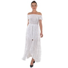 Circle Vector Background Abstract Off Shoulder Open Front Chiffon Dress