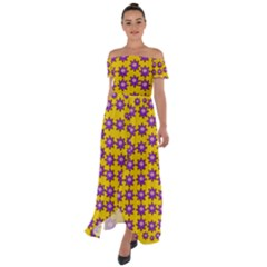 Lotus Bloom Always Live For Living In Peace Off Shoulder Open Front Chiffon Dress