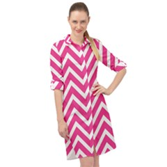 Chevrons Zigzag Pattern Design Pink White Long Sleeve Mini Shirt Dress