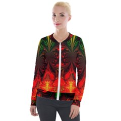 Digital Arts Fractals Futuristic Velour Zip Up Jacket
