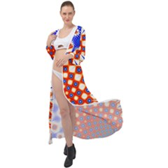 Digital Arts Fractals Futuristic Red Blue Maxi Chiffon Beach Wrap