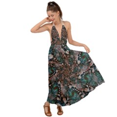 Art Artwork Fractal Digital Backless Maxi Beach Dress