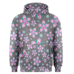 Seamless Pattern Flowers Pink Men s Pullover Hoodie