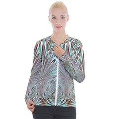 Crystal Design Crystal Pattern Glass Casual Zip Up Jacket