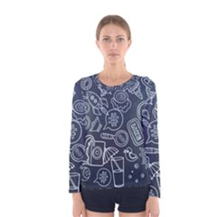 Internet Planets Drinks Computers Women s Long Sleeve Tee