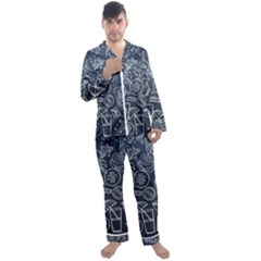 Internet Planets Drinks Computers Men s Satin Pajamas Long Pants Set