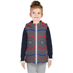 Art Design Fractal Circle Kids  Hooded Puffer Vest by Wegoenart