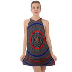 Art Design Fractal Circle Halter Tie Back Chiffon Dress by Wegoenart