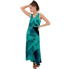 Background Texture Pattern Blue V Neck Chiffon Maxi Dress