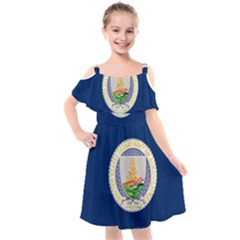 Flag Of United States Department Of Agriculture Kids  Cut Out Shoulders Chiffon Dress