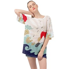 Mountain Sun Japanese Illustration Oversized Chiffon Top