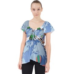 Earth Rocket Vector Earth Lace Front Dolly Top
