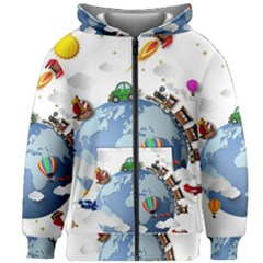 Earth Rocket Vector Earth Kids  Zipper Hoodie Without Drawstring by Vaneshart