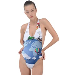 Earth Rocket Vector Earth Backless Halter One Piece Swimsuit by Vaneshart